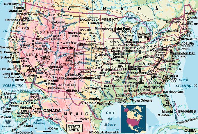 Mapa Fisic Del Mon.Estats Units D America Enciclopedia Cat